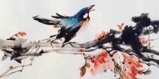 国猫水墨作品之《花鸟图》