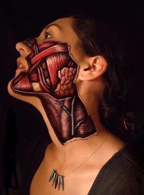 吓人的人体彩绘