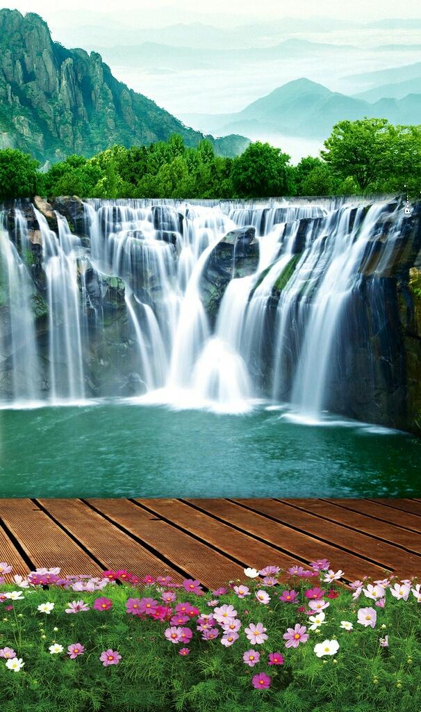 壁纸 风景 旅游 瀑布 山水 桌面 606_1024 竖版 竖屏 手机