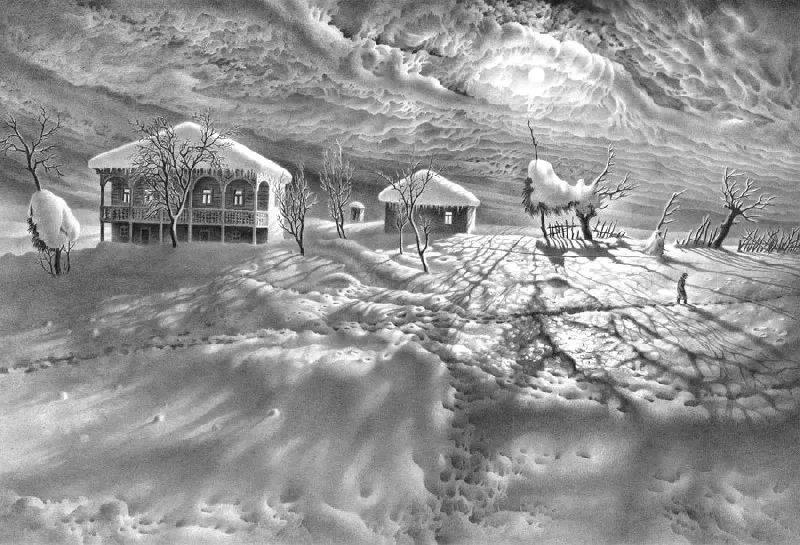 画雪61年,74岁老人一支铅笔将雪画活,普京都被骗了!