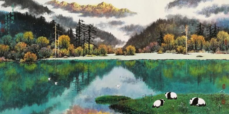 九寨仙境丨天娇熊猫 童昌信彩墨和油画欣赏