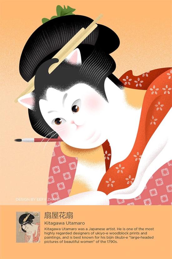 当猫咪成为  世界名画中的主角  还真是萌一脸