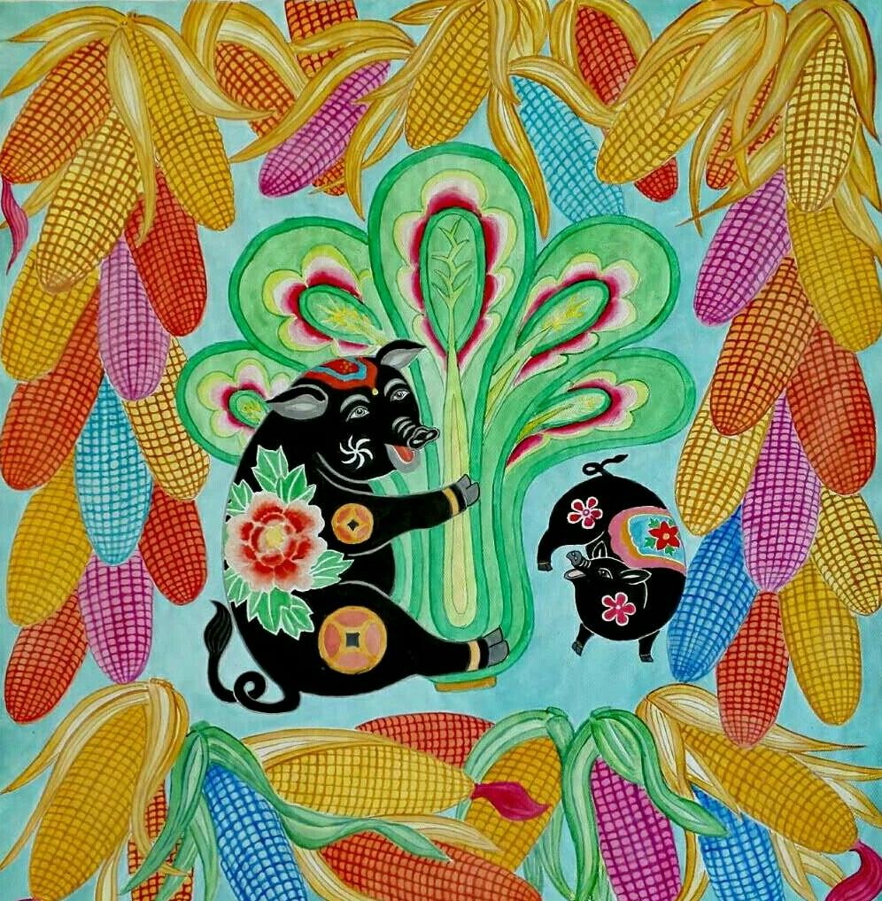 猪年春节拜年祝福语 写春联剪窗花, 满眼都是喜庆; 挂灯笼放炮竹