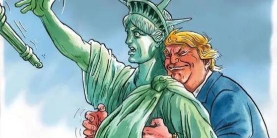 这幅图在美国火,他们居然敢这样戏弄特朗普!