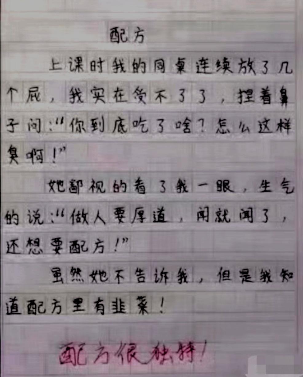 小学生写作文   气坏全家 笑坏老师   太有才了